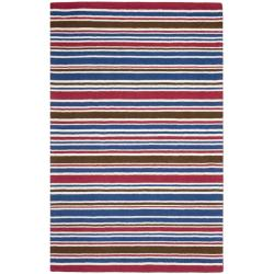Handmade Children's Stripes New Zealand Wool Rug (5' x 8')