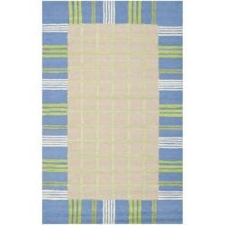 Handmade Children's Plaid Beige New Zealand Wool Rug (5' x 8')