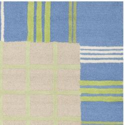 Handmade Children's Plaid Beige New Zealand Wool Rug (8' x 10')