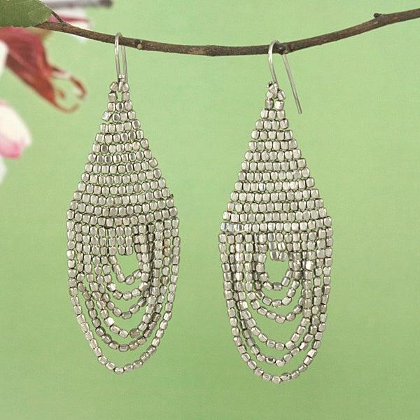 Handcrafted Silvertone Beaded Drape Earrings (India)