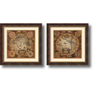 Max Besjana 'Cartographica' Framed Art Print Set