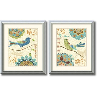 Daphne Brissonnet 'Eastern Tale Birds' Framed Art Print Set of 2 - 17 x 20-inch (each)
