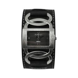 Nemesis Women's Stainless-Steel Cross Arc Watch with Black Strap