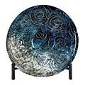Casa Cortes Serene Blue Glass Decorative Charger Plate with Stand