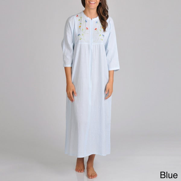 La Cera Women's Seersucker Robe