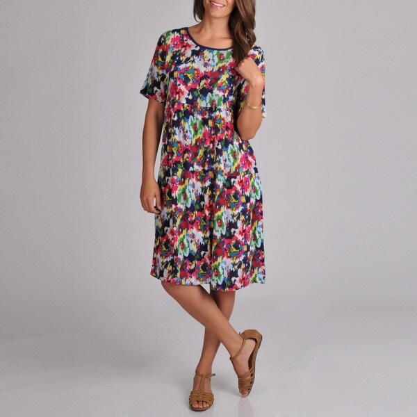 La Cera Women's Short Sleeve Faux Popover Dress