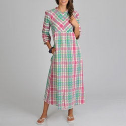La Cera Women's Cotton Seersucker Zip Front Plaid Cover-Up