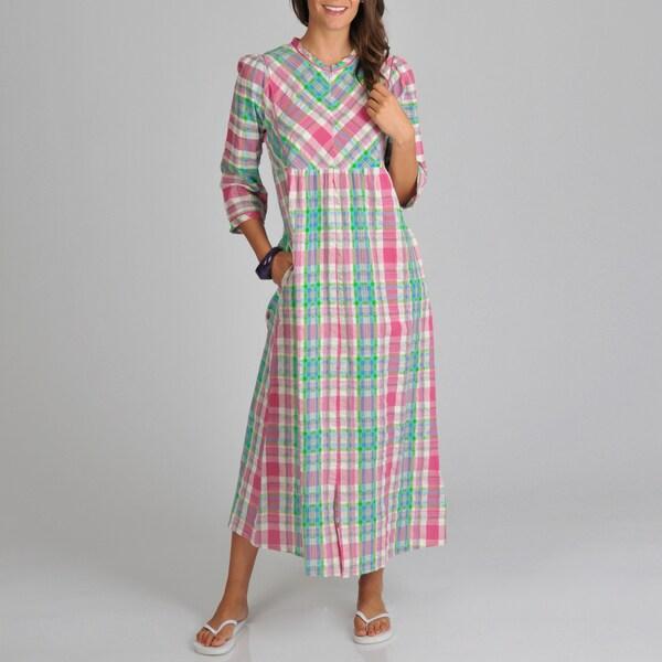 La Cera Women's Cotton Seersucker Zip Front Plaid Cover-Up