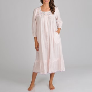 La Cera Women's Pink Voile Embroidered Nightgown