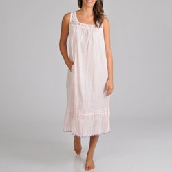 La Cera Women's Voile Embroidered Nightgown