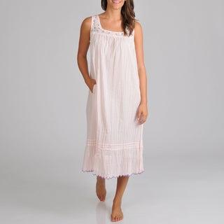 La Cera Women's Voile Embroidered Nightgown