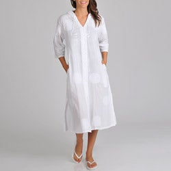 La Cera Women's Hooded Button Front Cover Up With Embroidery