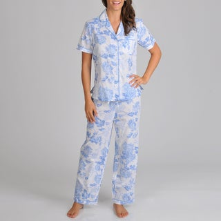 La Cera Women's Button Front Print Pajama Set