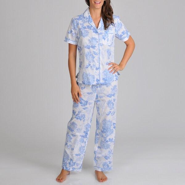 La Cera Women's Button Front Print Pajama Set