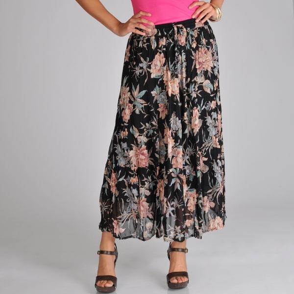 La Cera Women's Black Floral Georgette Tiered Skirt