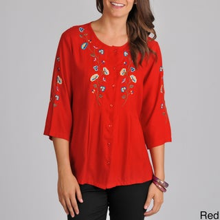 La Cera Women's Floral Embroidered 3/4-sleeve Top
