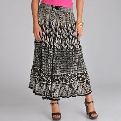 La Cera Women's Voile Black and White Broomstick Skirt
