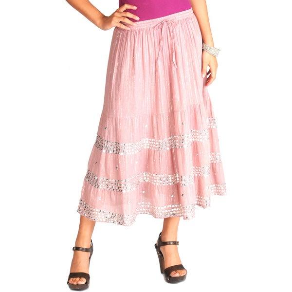 La Cera Women's Sequined Cotton Voile Tiered Skirt