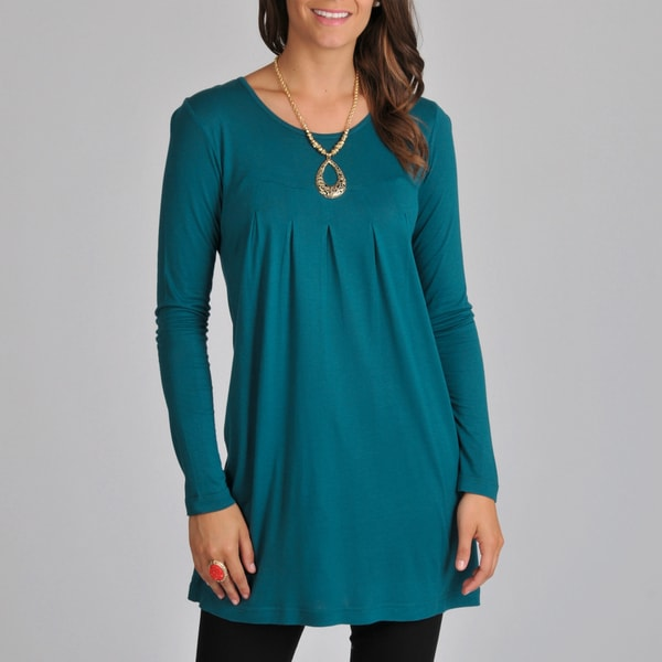 La Cera Women's Teal Long-sleeve Inverted Pleat Knit Tunic Top