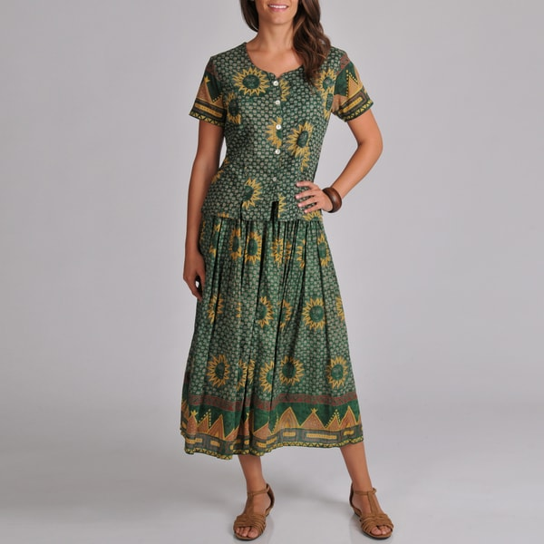 La Cera Women's Woven Green Sun Print Top and Skirt 2-piece Set