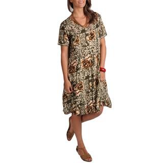 La Cera Women's Princess Seam Sage Green Floral-print Dress