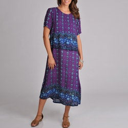 La Cera Women's Purple Print Short-sleeve Popover Dress