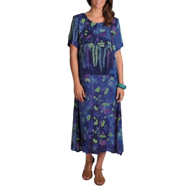 La Cera Women's Print Short-sleeve Floral-print Popover Dress