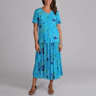 La Cera Women's Button-front Woven Floral Top and Skirt 2-piece Set