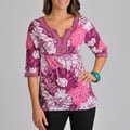 La Cera Women's 3/4-sleeve Drawstring Cotton Floral-print Tunic Top