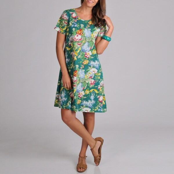 La Cera Women's Short-sleeve Teal Floral-print Knit Short Dress