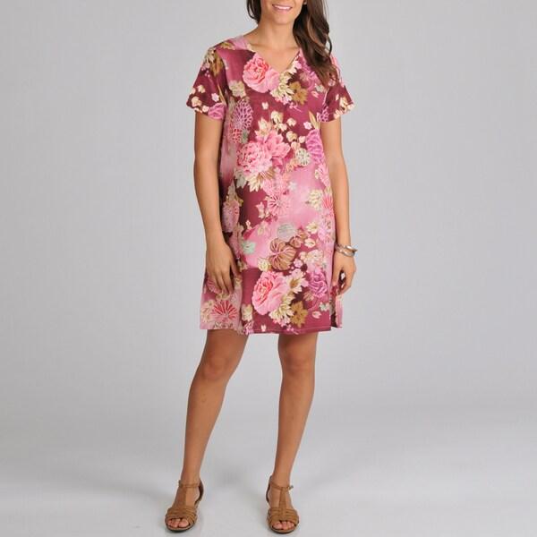 La Cera Women's Short-sleeve Mauve Floral-print Dress