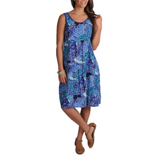 La Cera Women's Crinkle Printed Dress