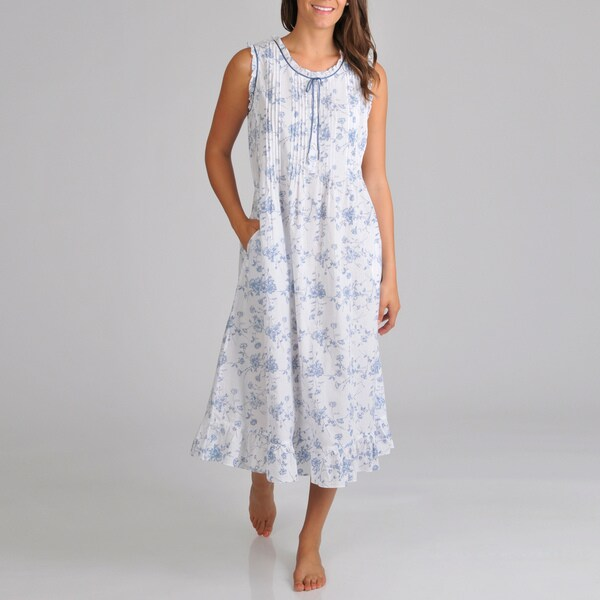 La Cera Women's Sleeveless Floral Print Ribbon Trim Night Gown