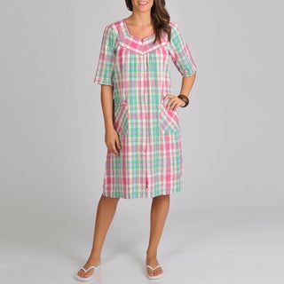La Cera Women's Seersucker Plaid Cover-up