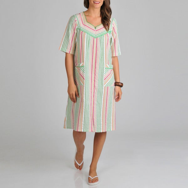 La Cera Women's Seersucker Stripe Cover-up