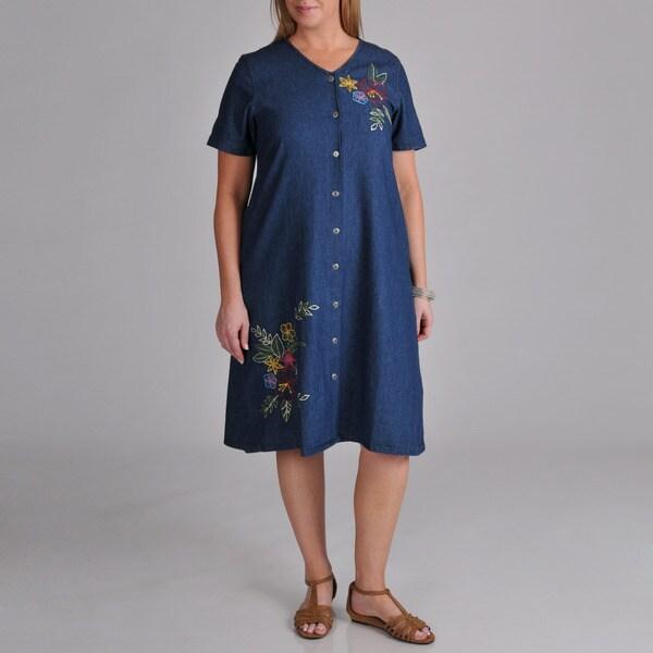La Cera Women's Plus Denim Embroidered Dress