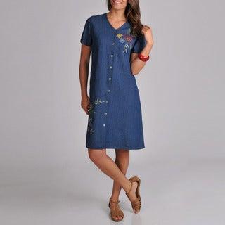 La Cera Women's Embroidered V-Neck Denim Dress