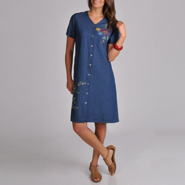 La Cera Women's Embroidered V-Neck Denim Dress