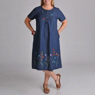 La Cera Women's Plus Embroidered Denim Dress