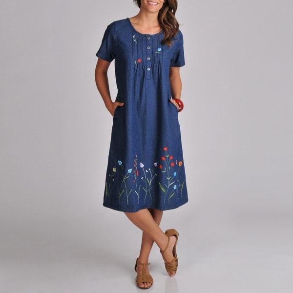 La Cera Women's Embroidered Denim Dress