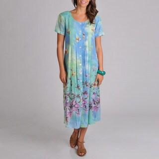 La Cera Women's Floral Pleat Button Front Dress