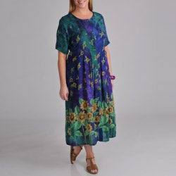 La Cera Women's Plus Sunflower Button Front Dress