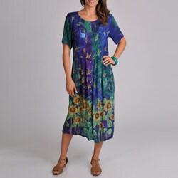 La Cera Women's Sunflower Pleat Button Front Dress