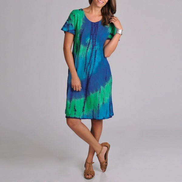 La Cera Women's Tie-dye Short Sleeve Dress