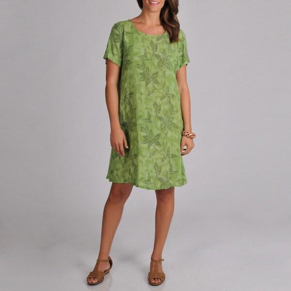 La Cera Women's Leaf Print Short Sleeve Dress