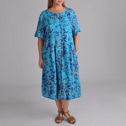 La Cera Women's Plus Blue Floral Button Front Dress