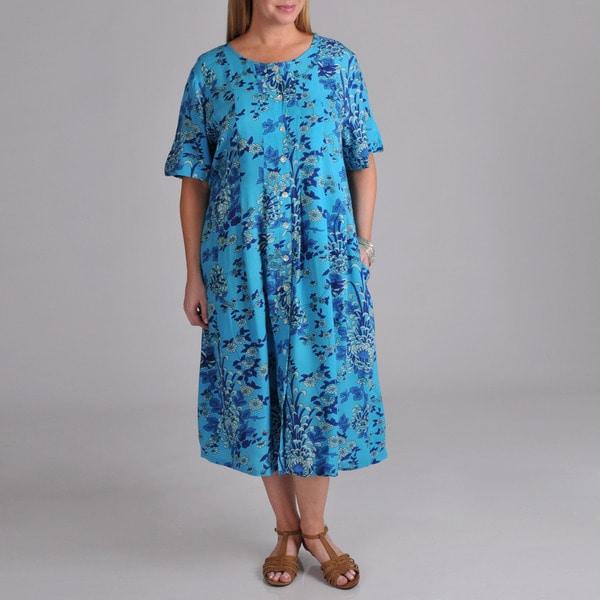 La Cera Women's Plus Blue Floral Button Front Dress