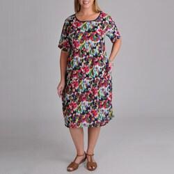 La Cera Women's Plus Abstract Floral Print Dress
