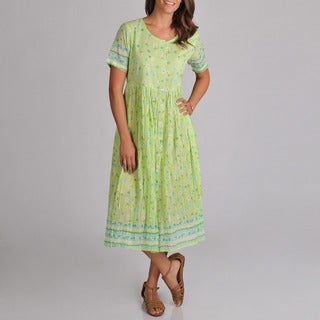 La Cera Women's Embroidered Lime Dress