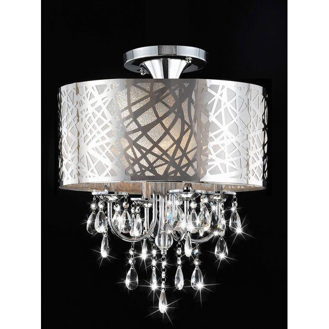 chrome and crystal 4 light flushmount chandelier